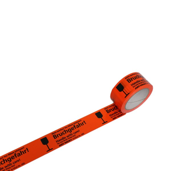 """Warnband """"Bruchgefahr! Nicht werfen! Vor Nässe schützen!"""", 50 mm breit"""